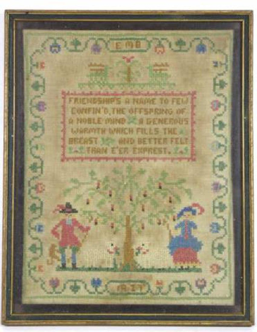 AMERICAN 1927 HAND STITCHED SAMPLER