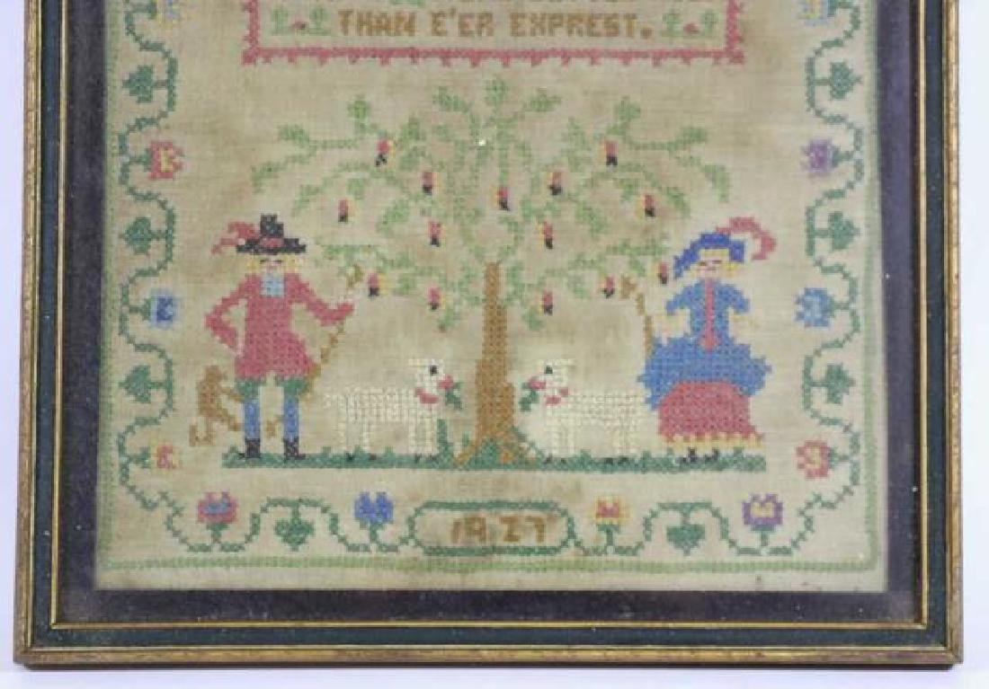 AMERICAN 1927 HAND STITCHED SAMPLER - 2