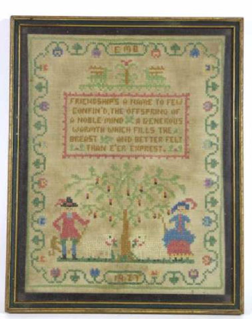 AMERICAN 1927 HAND STITCHED SAMPLER - 6