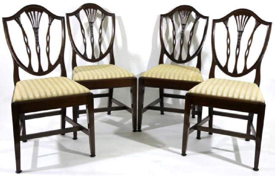 ANTIQUE MAHOGANY SHIELD BACK SIDE CHAIRS