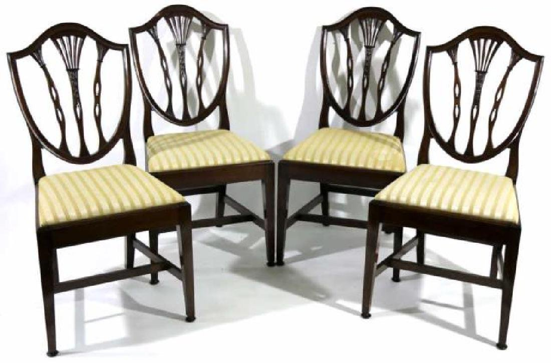 ANTIQUE MAHOGANY SHIELD BACK SIDE CHAIRS - 2