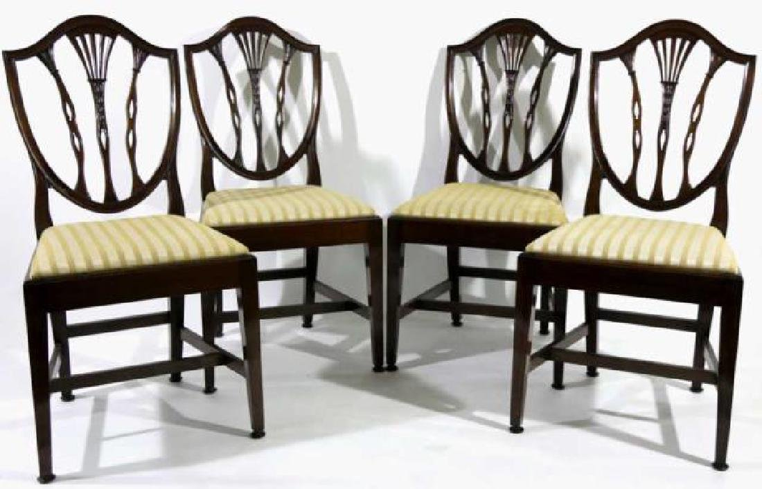 ANTIQUE MAHOGANY SHIELD BACK SIDE CHAIRS - 3