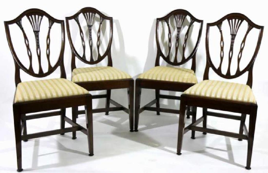 ANTIQUE MAHOGANY SHIELD BACK SIDE CHAIRS - 4