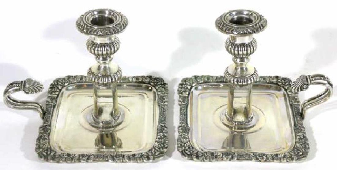 ITALIAN 800 STERLING SILVER CANDLE STICKS
