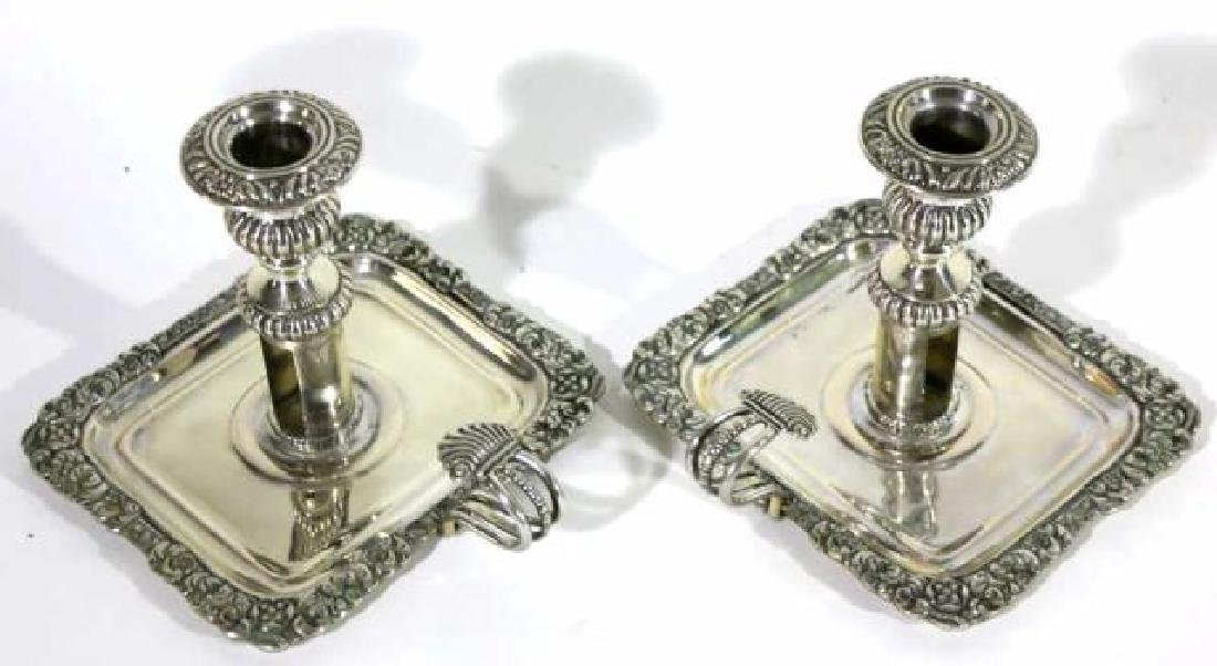 ITALIAN 800 STERLING SILVER CANDLE STICKS - 5
