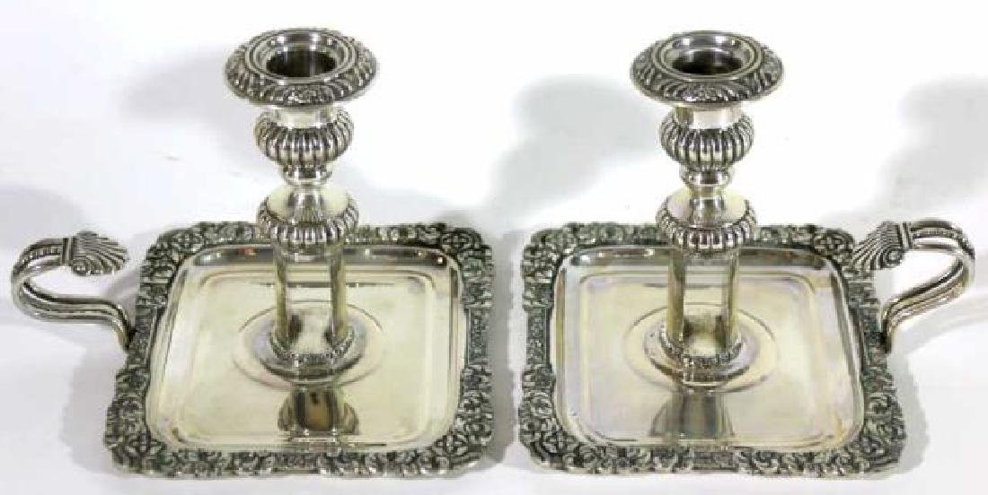 ITALIAN 800 STERLING SILVER CANDLE STICKS - 6