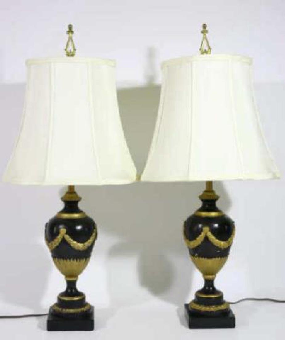 FRENCH FINE FAUX MARBLE NEOCLASSICAL LAMP PAIR