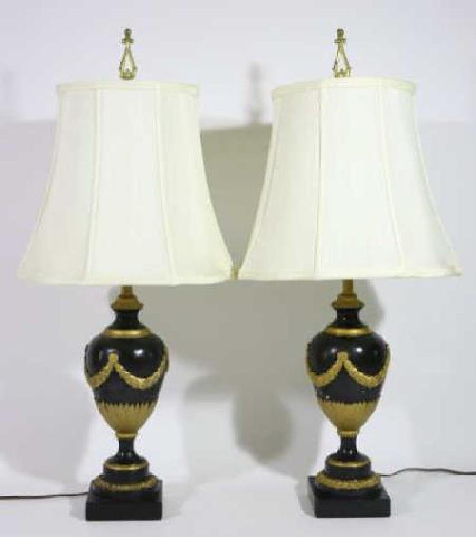 FRENCH FINE FAUX MARBLE NEOCLASSICAL LAMP PAIR - 4