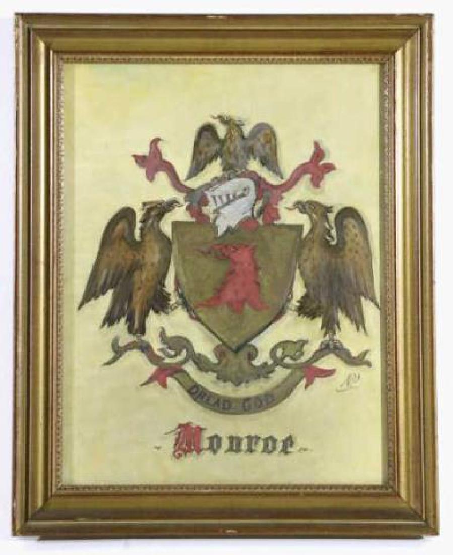 MONROE FAMILY CREST / ORIGINAL COAT OF ARMS
