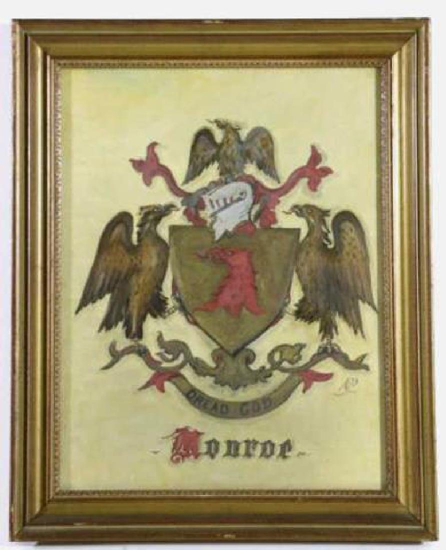 MONROE FAMILY CREST / ORIGINAL COAT OF ARMS - 3