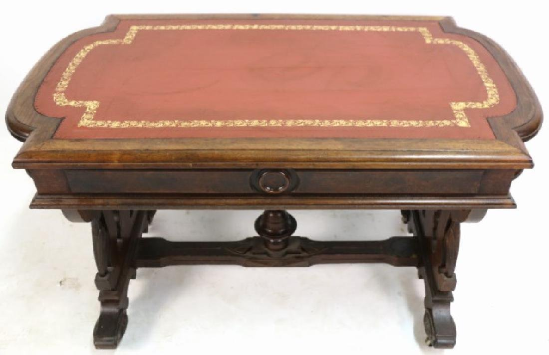 AMERICAN ANTIQUE VICTORIAN CARVED CENTER TABLE - 2