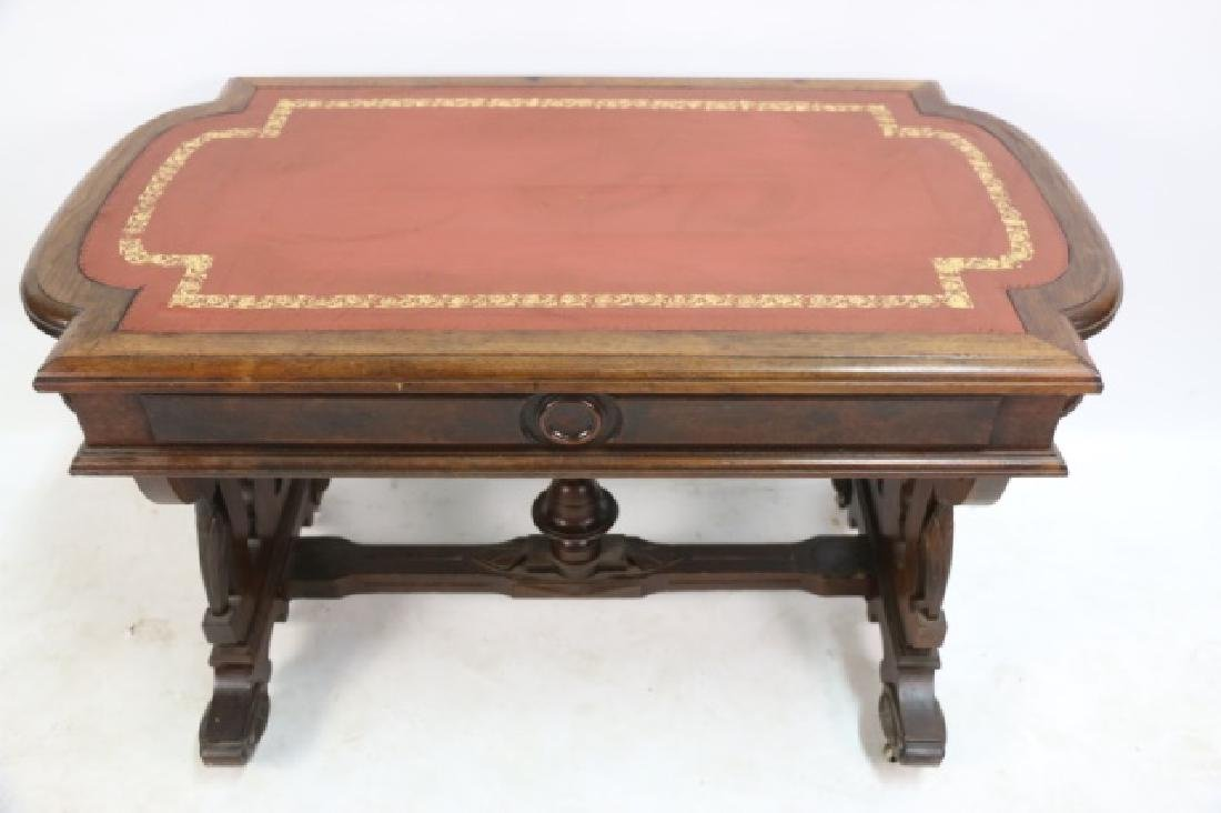 AMERICAN ANTIQUE VICTORIAN CARVED CENTER TABLE - 9