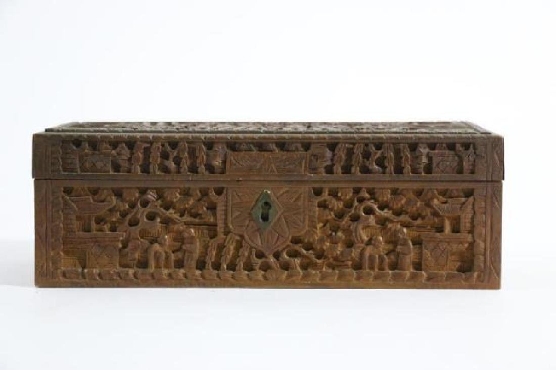 CHINESE HAND CARVED PEN BOX