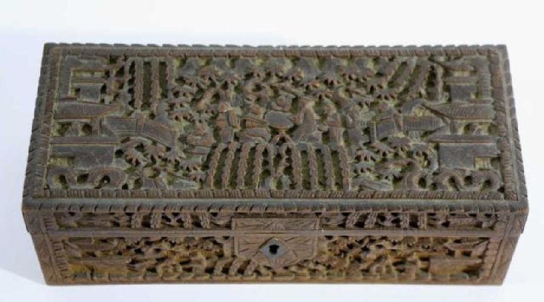 CHINESE HAND CARVED PEN BOX - 2
