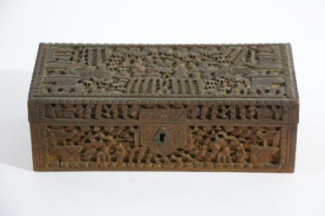 CHINESE HAND CARVED PEN BOX - 4