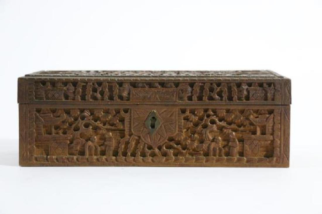 CHINESE HAND CARVED PEN BOX - 5