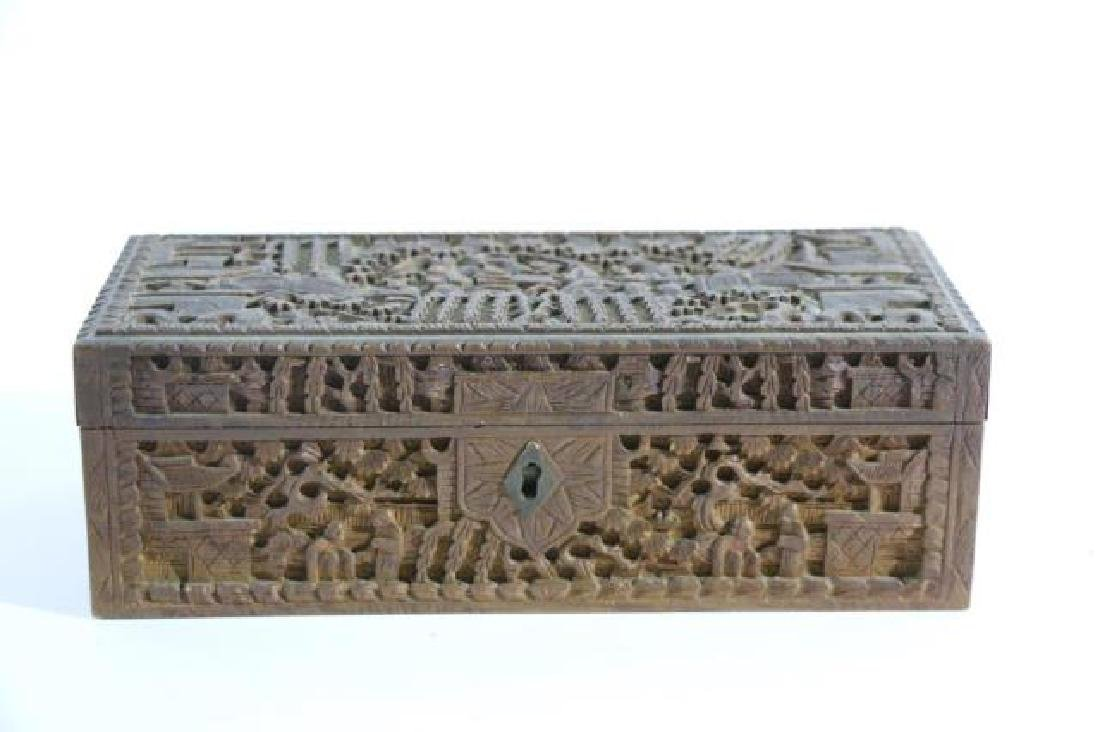 CHINESE HAND CARVED PEN BOX - 6