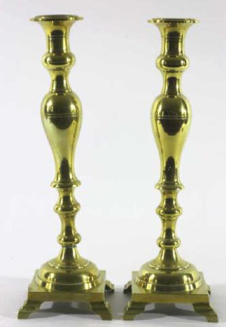AMERICAN ANTIQUE BRASS CANDLE STICKS - 3
