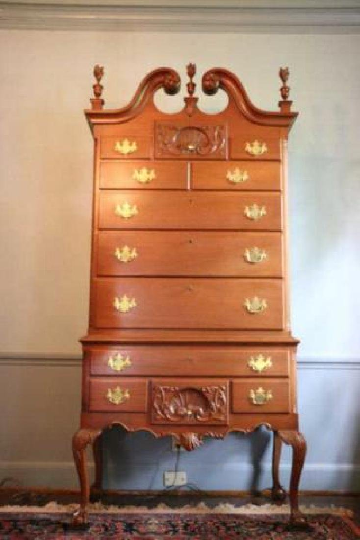 AMERICAN CHIPPENDALE CARVED MAHOGANY HIGHBOY
