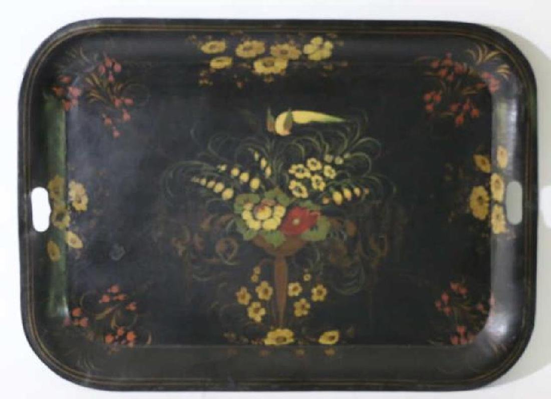 AMERCIAN ANTIQUE HAND PAINTED TOLE TRAY