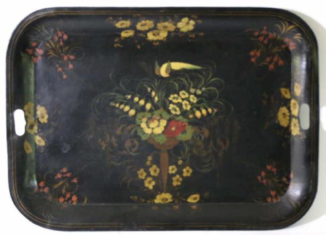 AMERCIAN ANTIQUE HAND PAINTED TOLE TRAY - 4