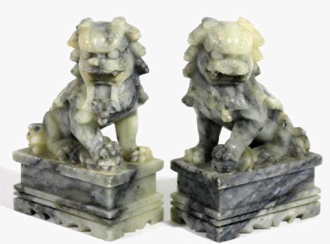 CHINESE ANTIQUE JADE FOO DOGS