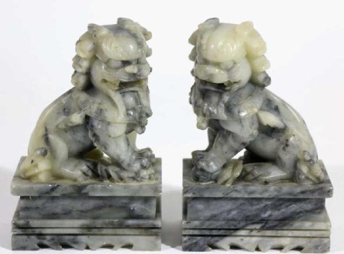 CHINESE ANTIQUE JADE FOO DOGS - 2
