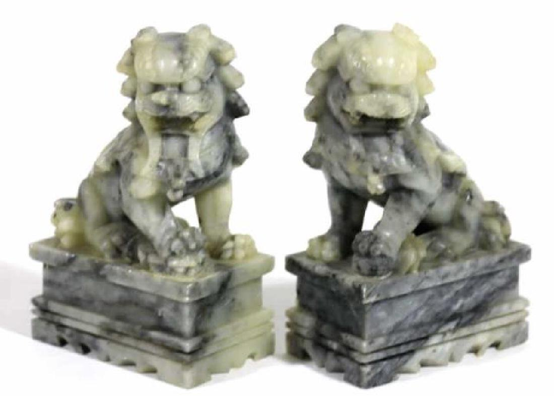 CHINESE ANTIQUE JADE FOO DOGS - 5