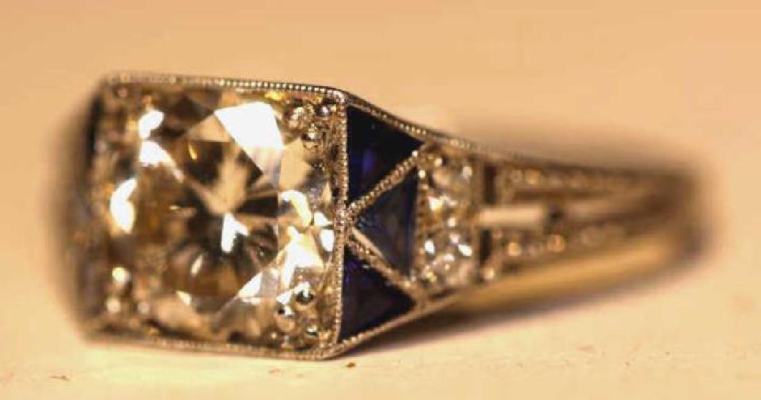 1.75 CARAT DIAMOND & SAPPHIRE18KWG ART DECO RING - 10