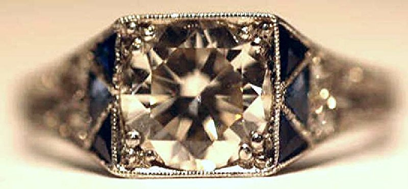1.75 CARAT DIAMOND & SAPPHIRE18KWG ART DECO RING - 3