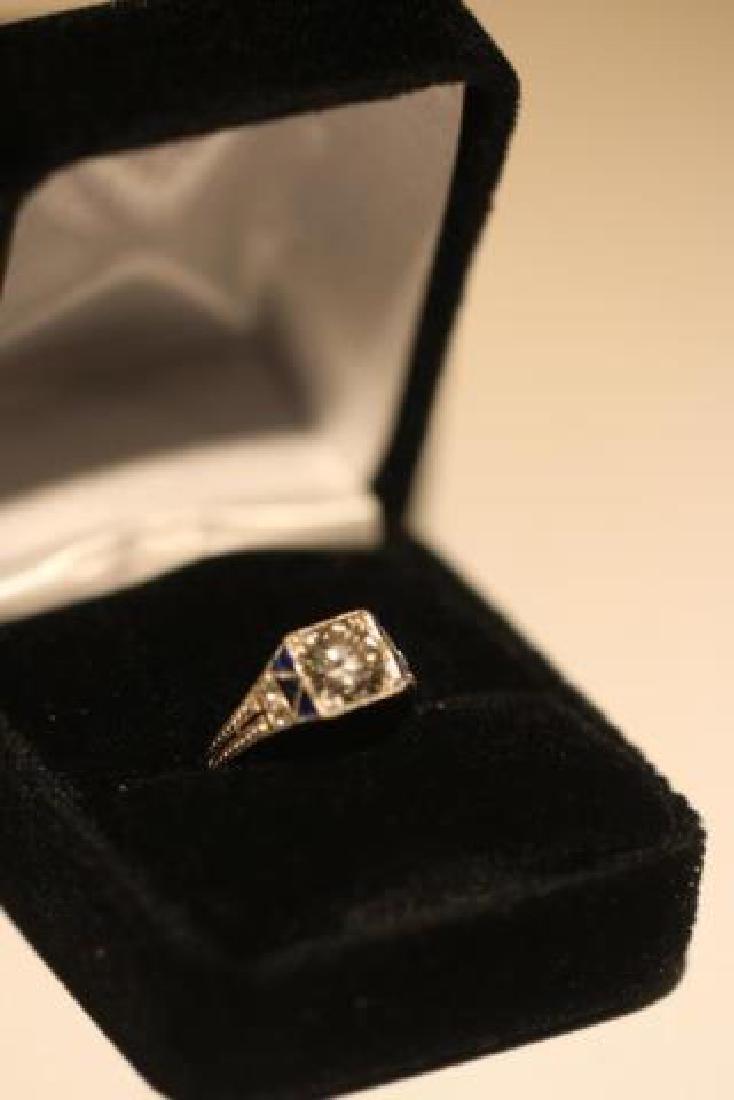 1.75 CARAT DIAMOND & SAPPHIRE18KWG ART DECO RING - 4
