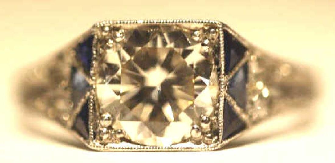 1.75 CARAT DIAMOND & SAPPHIRE18KWG ART DECO RING - 6