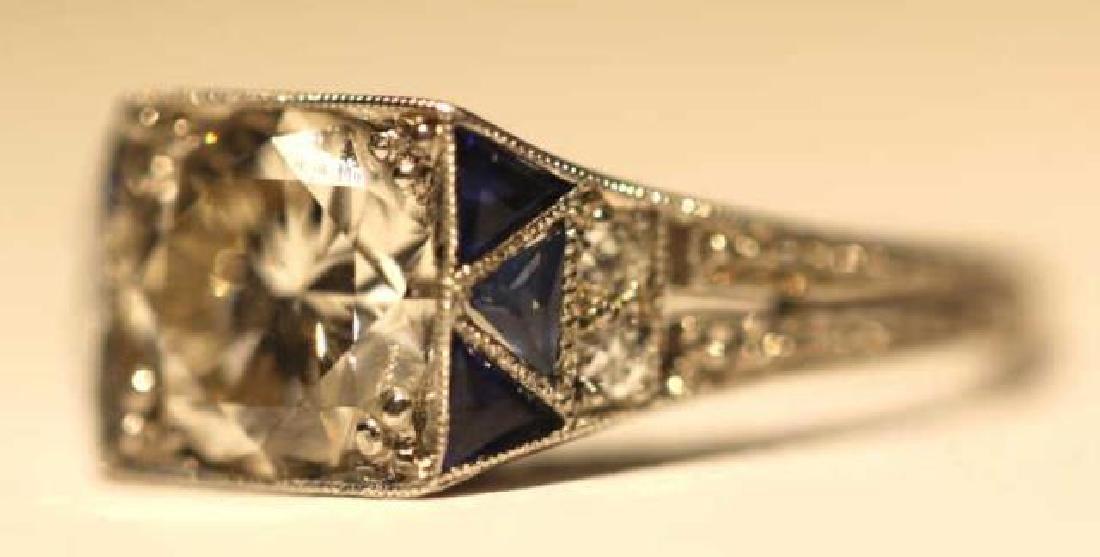 1.75 CARAT DIAMOND & SAPPHIRE18KWG ART DECO RING - 7