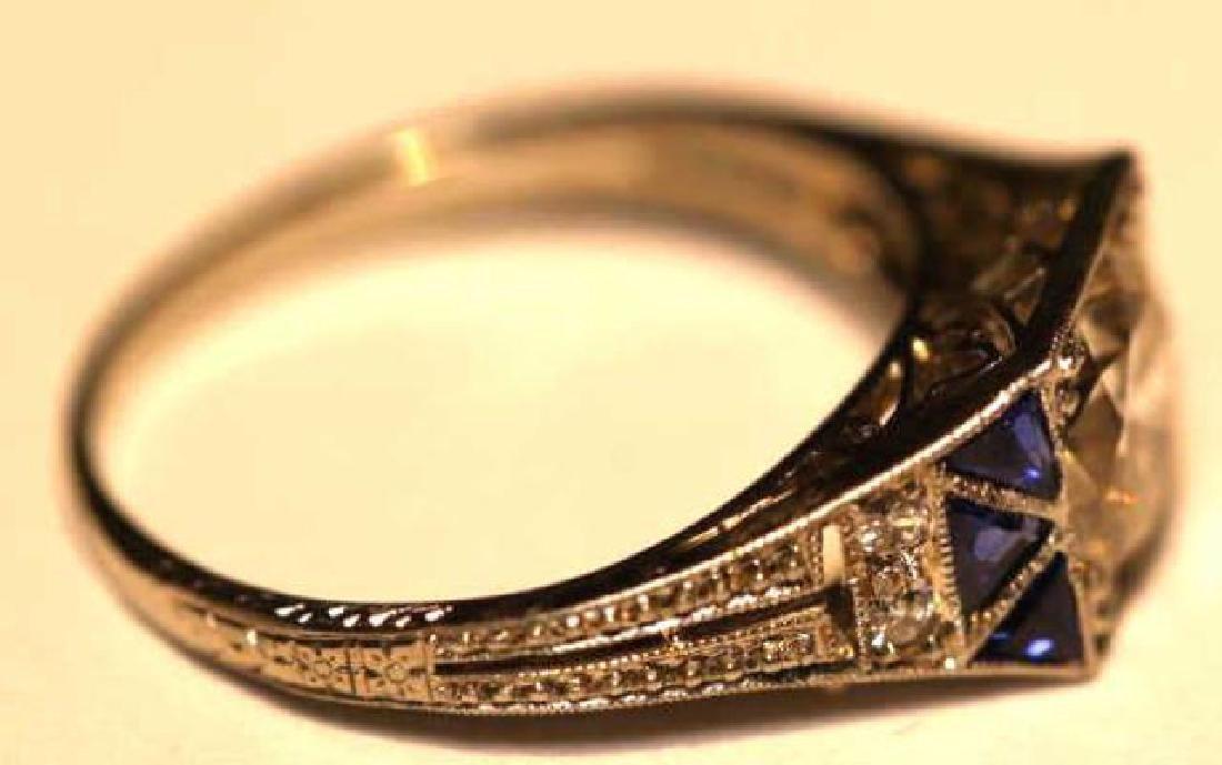 1.75 CARAT DIAMOND & SAPPHIRE18KWG ART DECO RING - 8