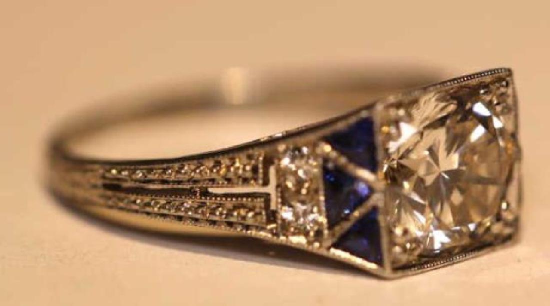 1.75 CARAT DIAMOND & SAPPHIRE18KWG ART DECO RING - 9
