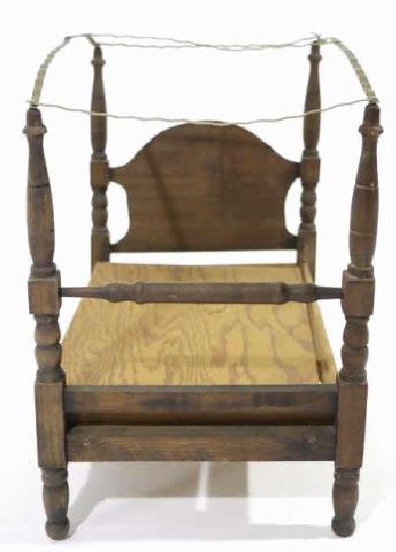 AMERCIAN ANTIQUE PRIMTIVE DOLL CANOPY POSTER BED - 2