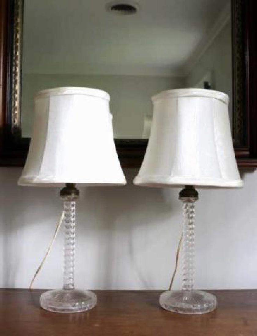 AMERICAN ANTIQUE SANDWICH GLASS CANDLESTICK LAMPS - 2