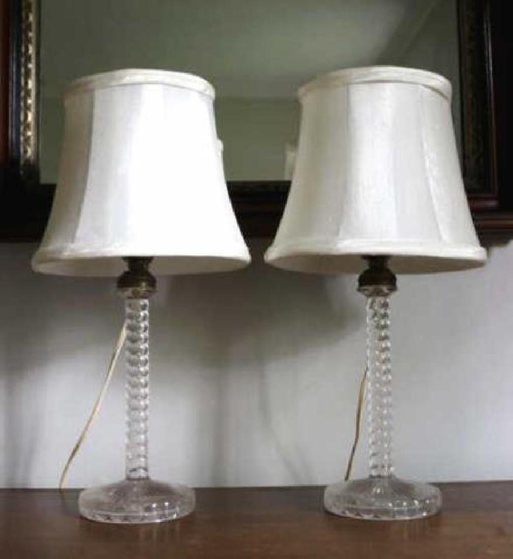 AMERICAN ANTIQUE SANDWICH GLASS CANDLESTICK LAMPS - 4