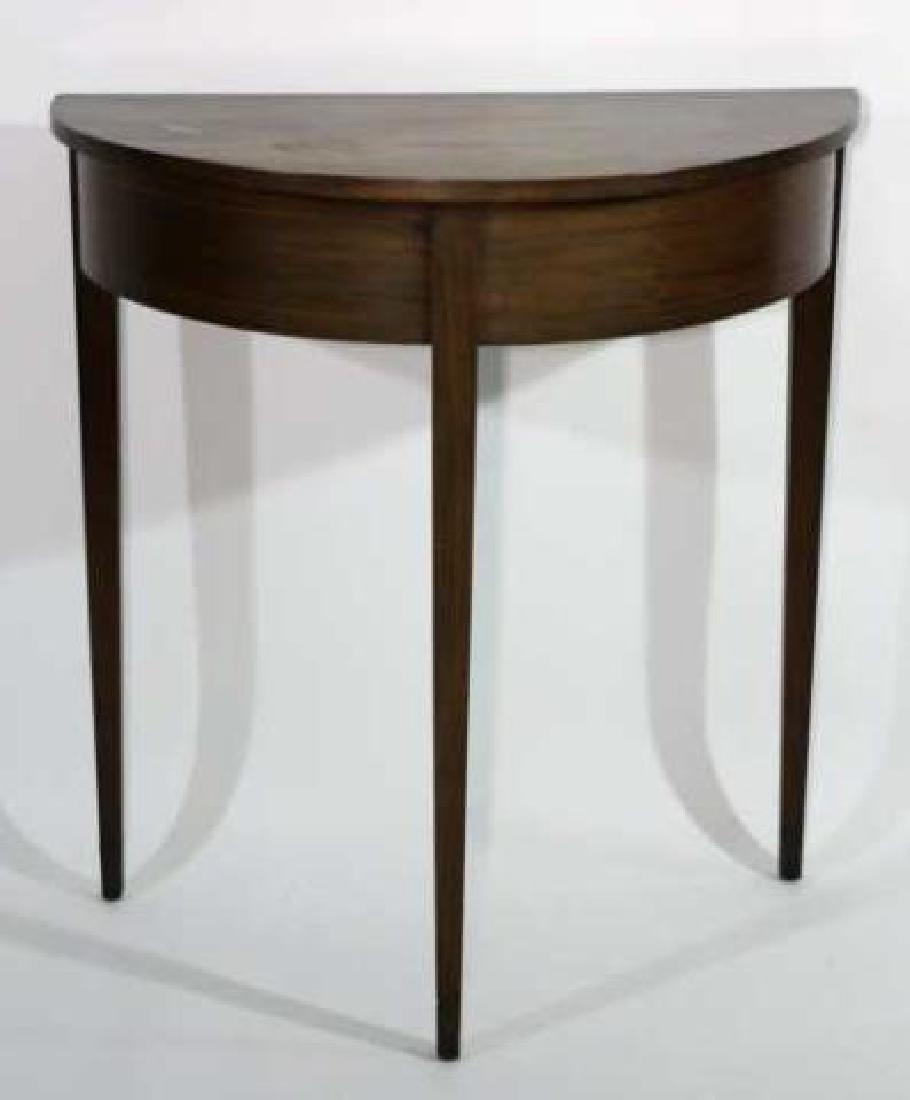 AMERICAN ANTIQUE STRING INLAID DEMILUNE TABLE