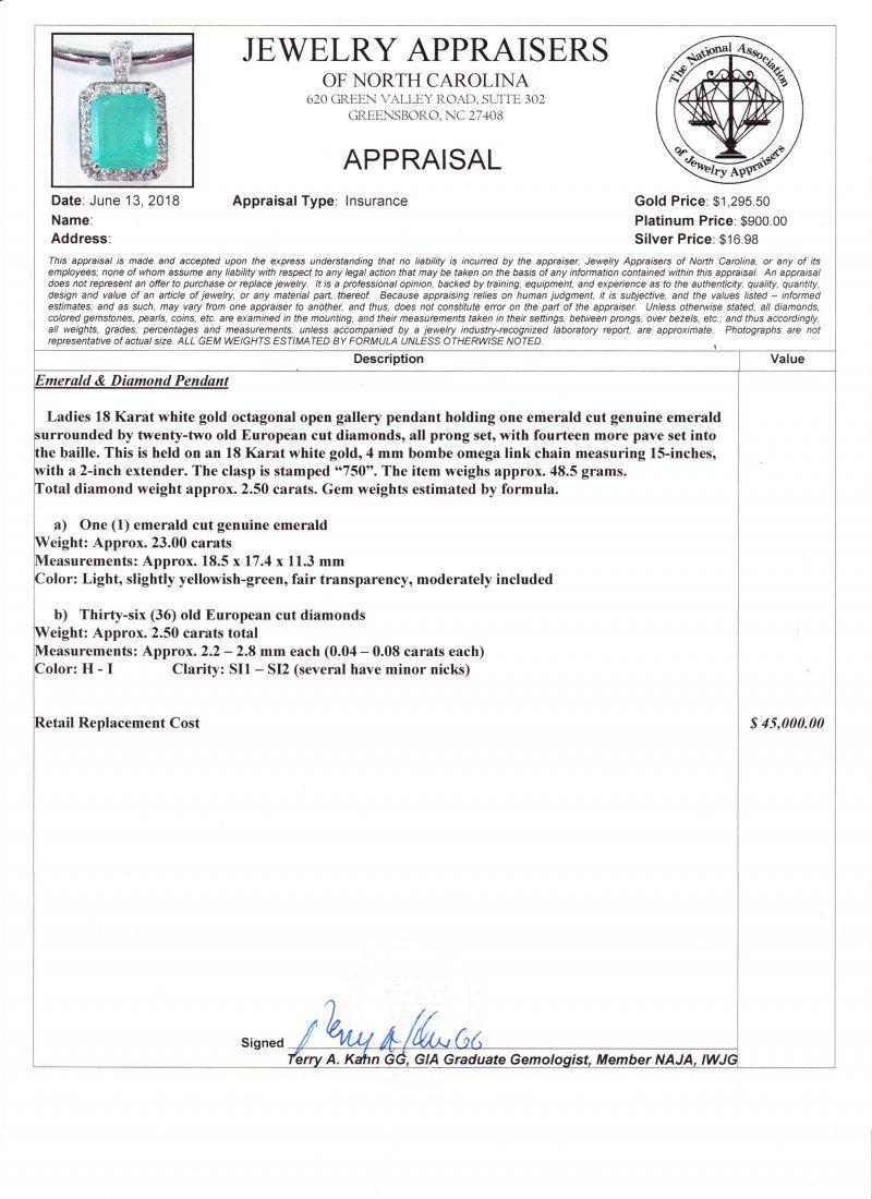 NATURAL 23 CARAT EMERALD /18KWG & DIAMOND PENDANT - 7