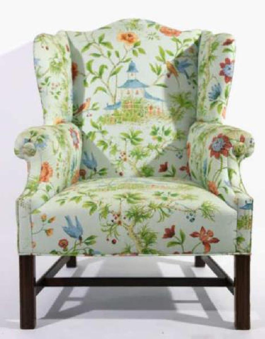 ANTIQUE CUSTOM UPHOLSTERED WING BACK ARMCHAIR