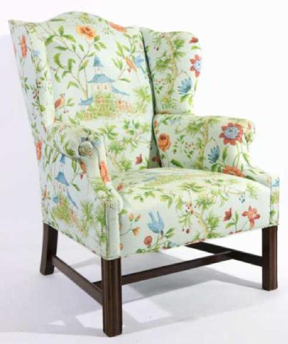 ANTIQUE CUSTOM UPHOLSTERED WING BACK ARMCHAIR - 2