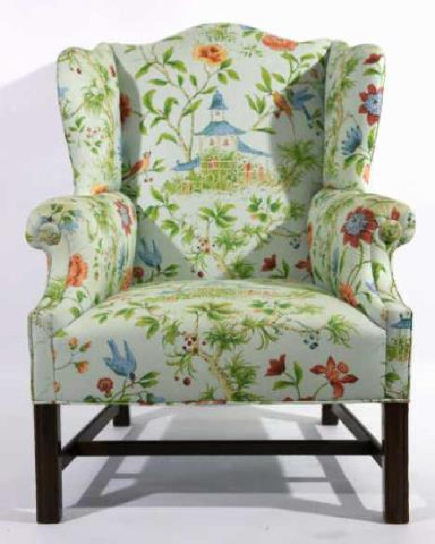 ANTIQUE CUSTOM UPHOLSTERED WING BACK ARMCHAIR - 4