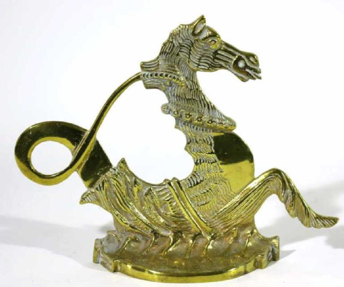 ANTIQUE BRASS SEAHORSE DOOR STOP