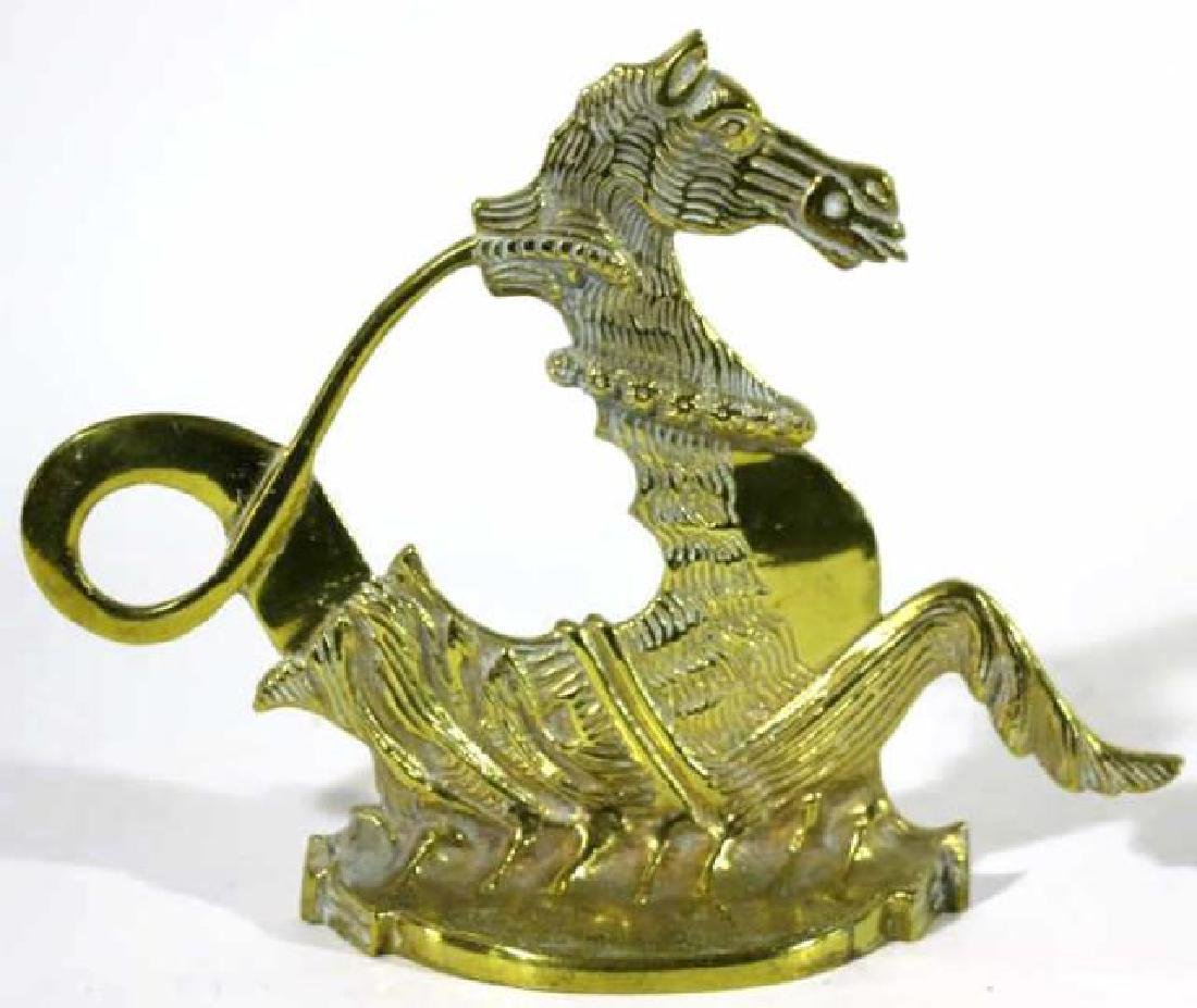ANTIQUE BRASS SEAHORSE DOOR STOP - 2