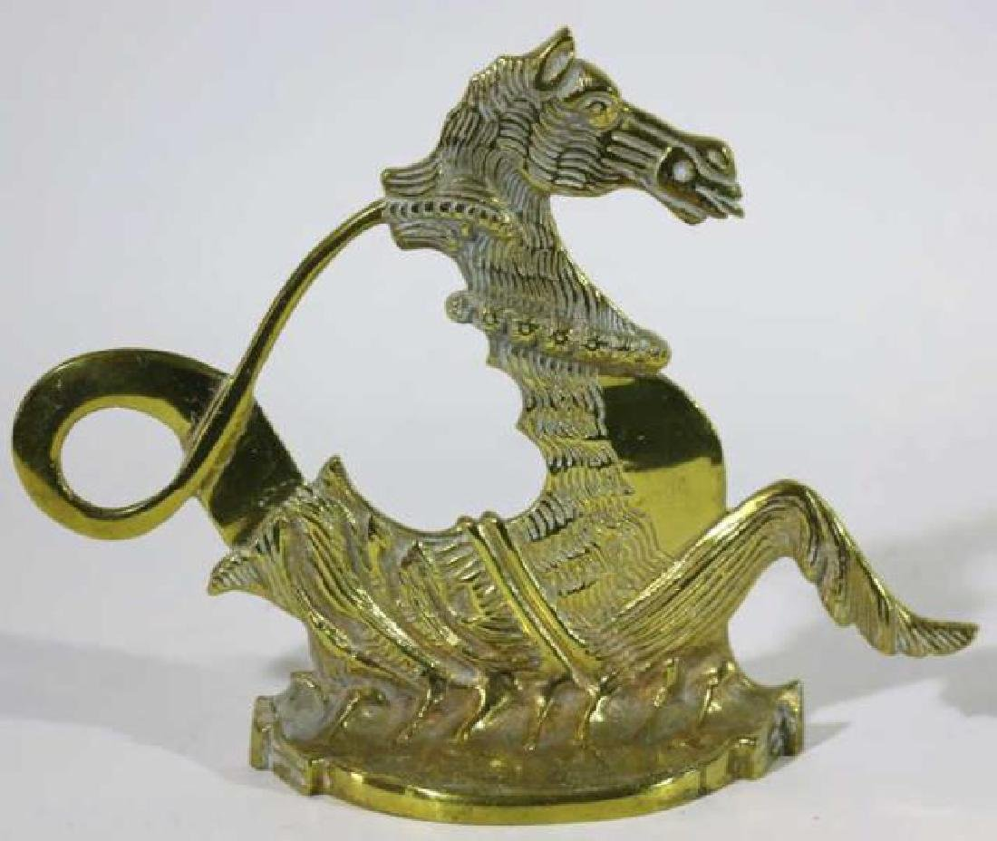 ANTIQUE BRASS SEAHORSE DOOR STOP - 4