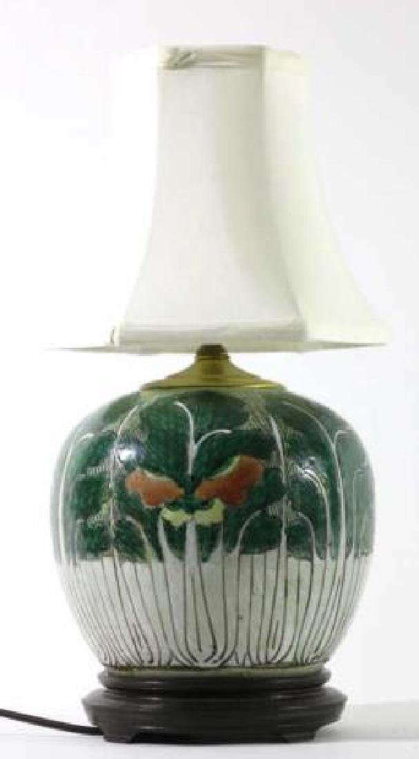 CHNESE ANTIQUE CABBAGE FORM GINGER JAR LAMP