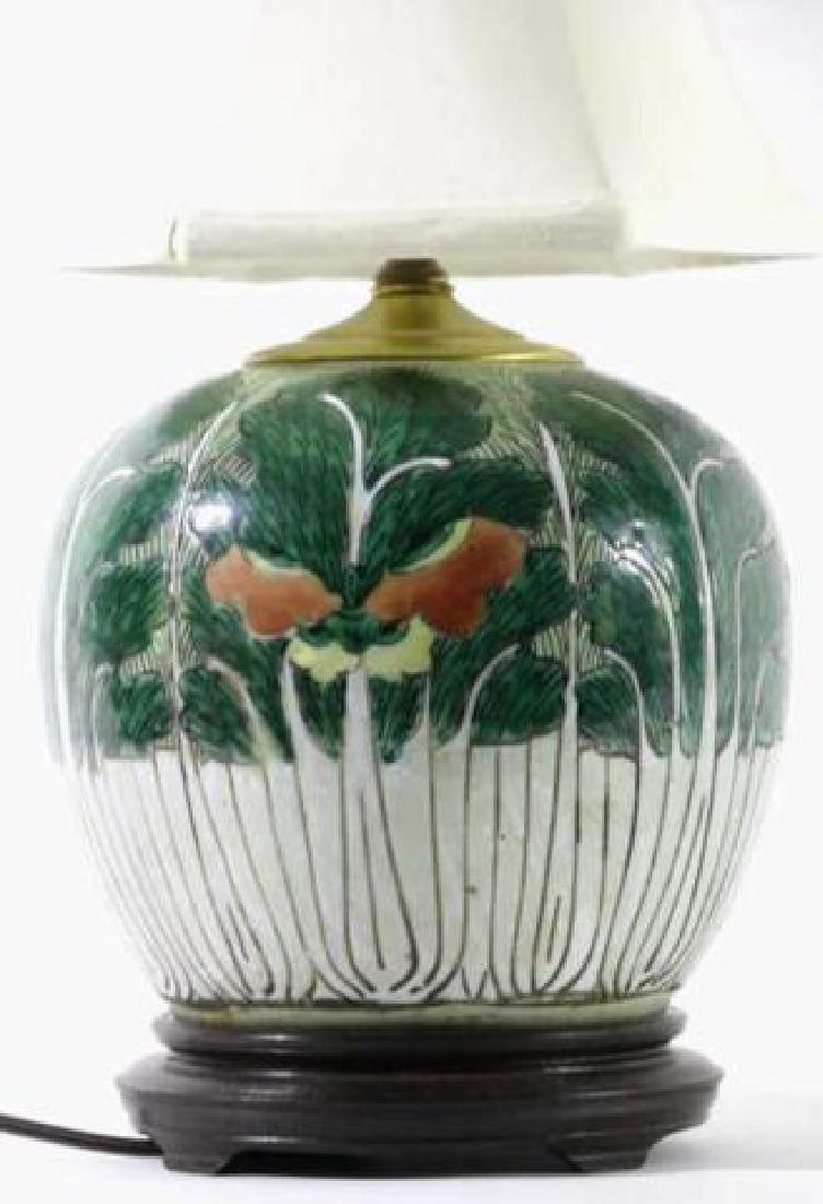 CHNESE ANTIQUE CABBAGE FORM GINGER JAR LAMP - 2