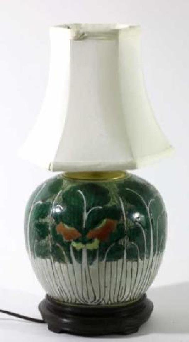 CHNESE ANTIQUE CABBAGE FORM GINGER JAR LAMP - 3