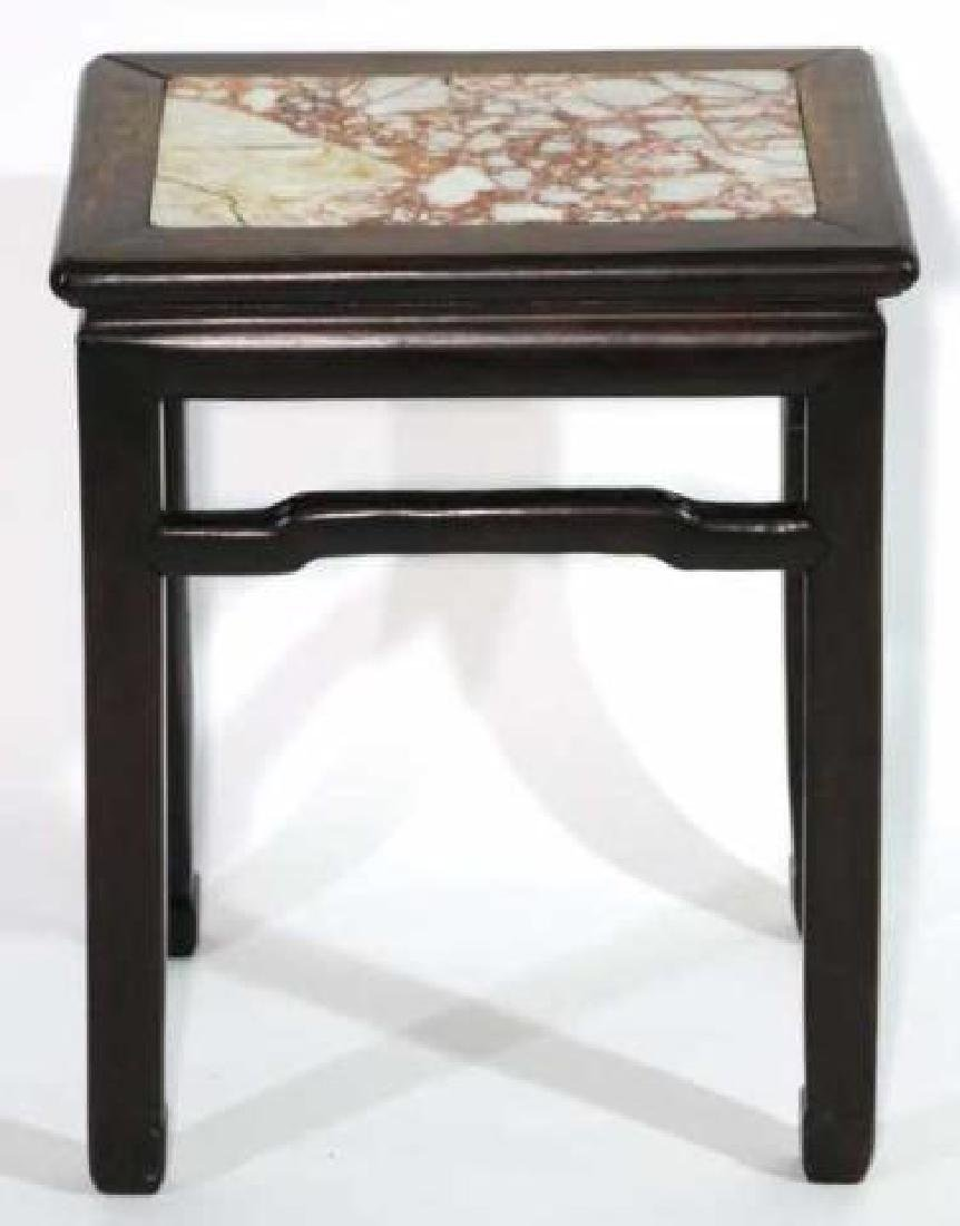 CHINESE ANTIQUE INSET MARBLE SIDE TABLE